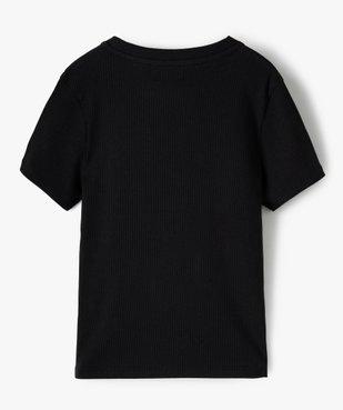 Tee-shirt fille en maille côtelée à manches courtes  vue3 - GEMO C4G FILLE - GEMO
