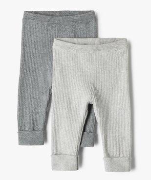 Pantalon bébé en maille côtelée (lot de 2) vue1 - GEMO(BB COUCHE) - GEMO