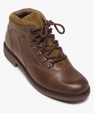 Boots homme avec dessus cuir lisse et lacets montagne vue5 - GEMO (CASUAL) - GEMO