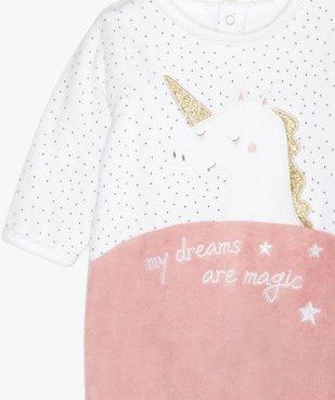 Pyjama bébé en velours motif licorne à pont-dos pressionné vue2 - GEMO(BB COUCHE) - GEMO