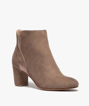 Boots femme à talon unis dessus suédine et textile brillant vue2 - GEMO(URBAIN) - GEMO