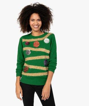 Pull de Noël femme à motifs guirlandes et boules décoratives vue1 - GEMO(FEMME PAP) - GEMO