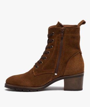 Boots femme à talon carré dessus cuir retourné uni vue3 - GEMO(URBAIN) - GEMO