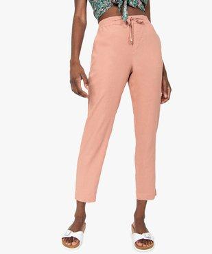 Pantalon femme en lin avec ceinture élastiquée vue1 - GEMO(FEMME PAP) - GEMO