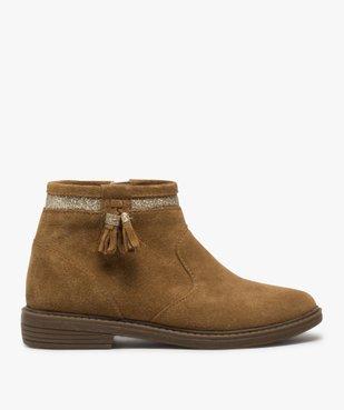 Boots fille zippés dessus cuir pompons et bordure pailletés vue1 - Nikesneakers (ENFANT) - Nikesneakers