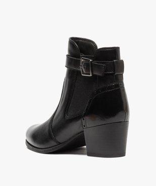 Boots femme à talon rainuré dessus cuir uni vue4 - GEMO(URBAIN) - GEMO