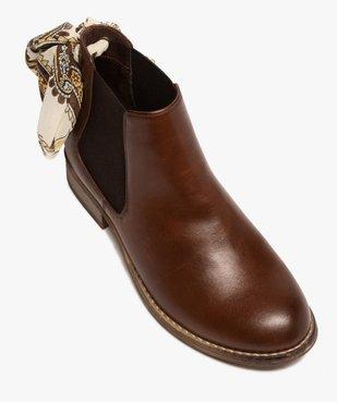Boots femme style chelsea à talon plat et nœud foulard vue5 - GEMO (CASUAL) - GEMO