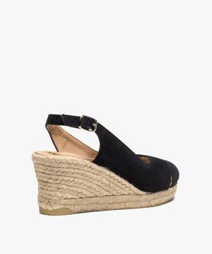 Sandales femme à talon compensé et dessus cuir velours vue4 - GEMO(URBAIN) - GEMO
