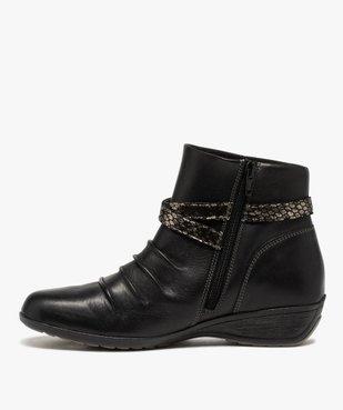 Boots femme confort à talon compensé dessus drapé vue3 - GEMO (CASUAL) - GEMO