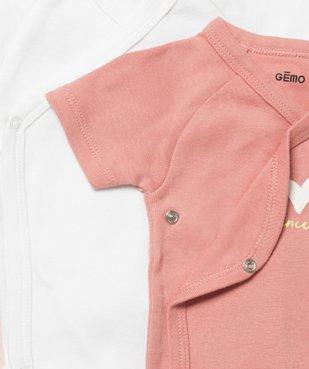 Body bébé fille à manches courtes fermeture croisée (lot de 5) vue3 - GEMO C4G BEBE - GEMO