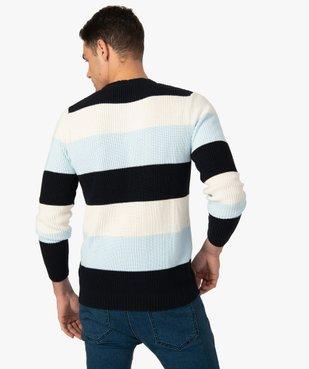 Pull homme à larges bandes colorées vue3 - GEMO (HOMME) - GEMO