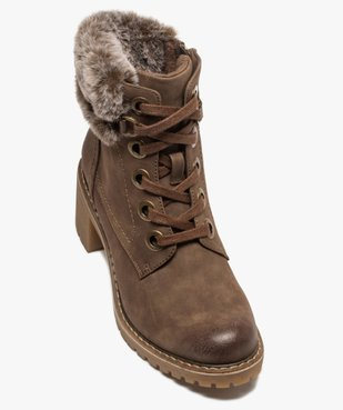 Boots femme à col duveteux, talon carré et semelle crantée vue5 - GEMO(URBAIN) - GEMO