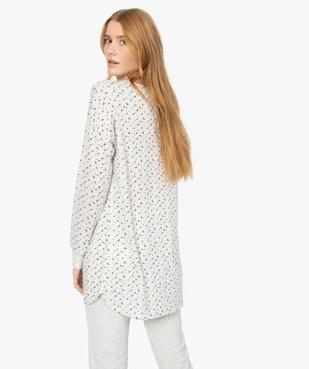Haut de pyjama femme à manches longues imprimé vue3 - GEMO(HOMWR FEM) - GEMO