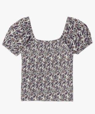 Tee-shirt femme avec buste smocké et manches ballon vue4 - GEMO(FEMME PAP) - GEMO