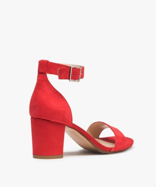 Sandales femme à talon large et bride cheville dessus suédine vue4 - GEMO(URBAIN) - GEMO