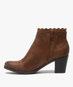 Boots femme unis à talon finitions fantaisie vue3 - GEMO(URBAIN) - GEMO