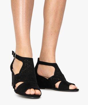 Sandales femme à talon compensé et dessus ajouré vue1 - GEMO(URBAIN) - GEMO