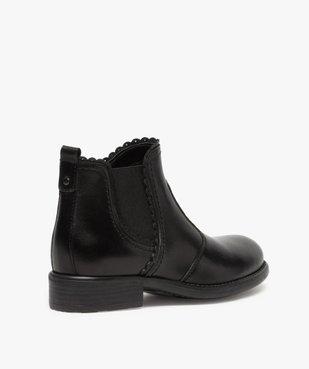 Boots fille style chelsea dessus cuir uni à bords dentelés vue4 - GEMO (ENFANT) - GEMO