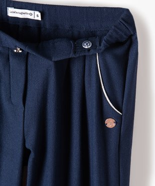Pantalon fille en maille extensible avec liserés pailletés - Lulu Castagnette vue3 - LULUCASTAGNETTE - Nikesneakers
