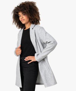 Manteau court femme en matière extensible chinée vue2 - GEMO(FEMME PAP) - GEMO