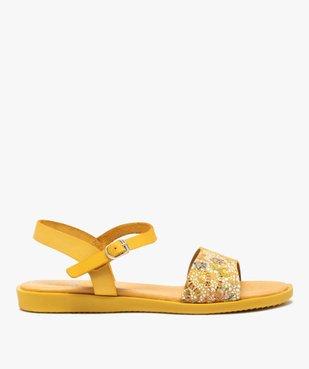Sandales femme à talon plat dessus en cuir imprimé vue1 - GEMO (CASUAL) - GEMO