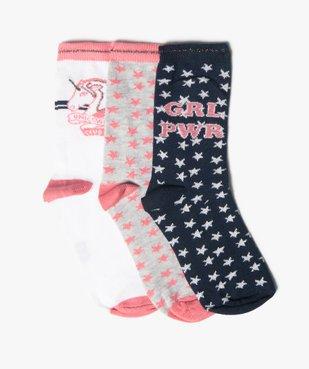 Chaussettes fille à tige haute motif étoiles (lot de 3) vue1 - GEMO (ENFANT) - GEMO