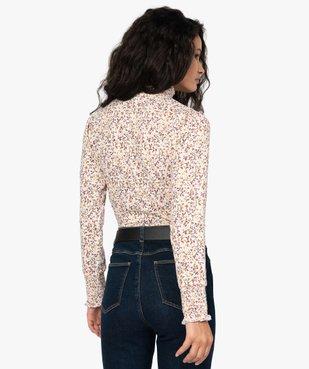 Tee-shirt femme col montant à motif fleuri vue3 - GEMO C4G FEMME - GEMO