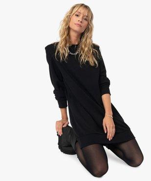 Robe femme sweat avec épaulettes - LuluCastagnette vue1 - LULUCASTAGNETTE - GEMO