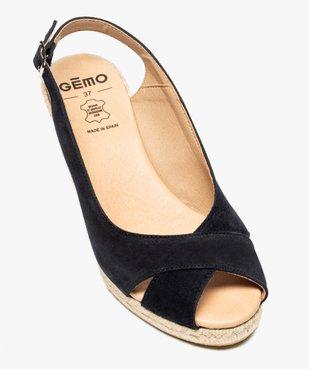 Sandales femme à talon compensé et dessus cuir velours vue5 - GEMO(URBAIN) - GEMO