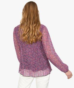 Blouse femme en voile plissé à motifs à manches longues vue3 - GEMO(FEMME PAP) - GEMO