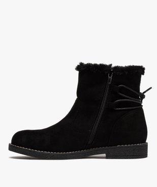 Boots fourrées femme à talon plat et suédine unie vue3 - GEMO (CASUAL) - GEMO