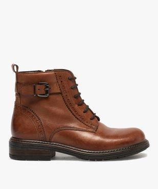 Boots fille dessus cuir ajouré à fermeture lacets et zip vue1 - GEMO (ENFANT) - GEMO