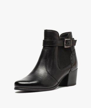 Boots femme à talon rainuré dessus cuir uni vue2 - GEMO(URBAIN) - GEMO