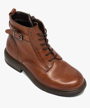 Boots fille dessus cuir ajouré à fermeture lacets et zip vue5 - GEMO (ENFANT) - GEMO
