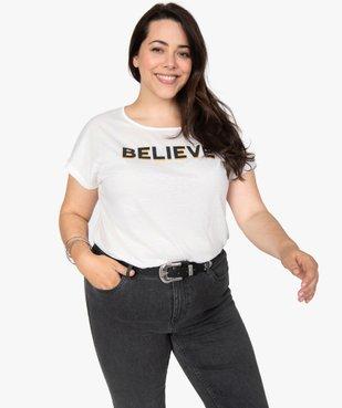Tee-shirt femme à manches courtes à motifs vue1 - GEMO (G TAILLE) - GEMO