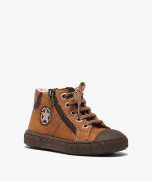 Boots garçon en cuir fermeture lacets et zip - Bopy vue2 - BOPY - GEMO
