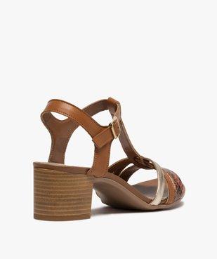 Sandales femme à talon carré et brides en cuir vue4 - GEMO(URBAIN) - GEMO