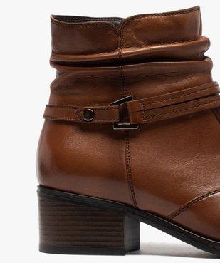 Boots femme à talon large et tige plissée en cuir vue6 - GEMO (CASUAL) - GEMO