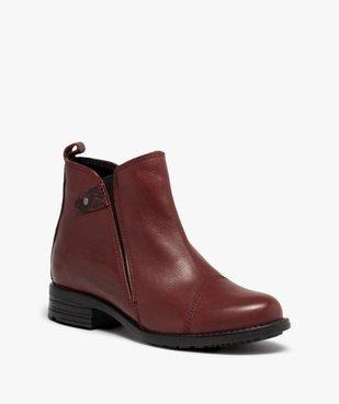 Boots femme à talon plat dessus en cuir uni vue2 - GEMO (CASUAL) - GEMO