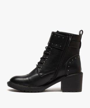 Boots femme unies à talon carré et brides à clous vue3 - GEMO(URBAIN) - GEMO