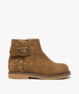 Boots bébé fille zippées style chelsea dessus cuir retourné vue1 - GEMO(BEBE DEBT) - GEMO