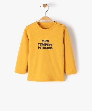 Tee-shirt bébé garçon à manches longues avec message vue1 - GEMO C4G BEBE - GEMO