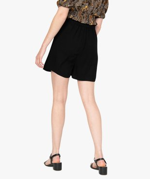 Short femme uni avec taille élastiquée  vue3 - GEMO(FEMME PAP) - GEMO