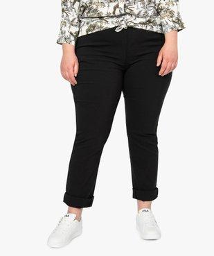 Pantalon femme droit en toile fine stretch vue1 - GEMO (G TAILLE) - GEMO