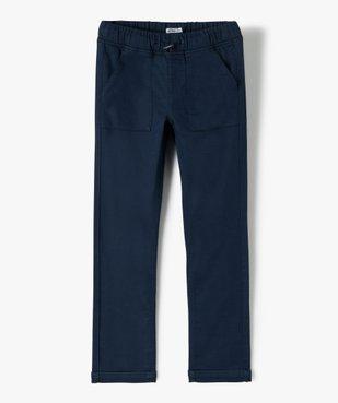 Pantalon garçon en toile extensible avec taille élastiquée vue1 - GEMO (ENFANT) - GEMO