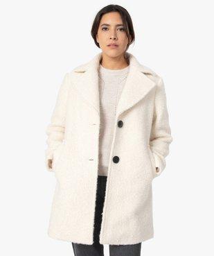 Manteau femme mi-long en matière bouclette à col tailleur vue1 - GEMO(FEMME PAP) - GEMO