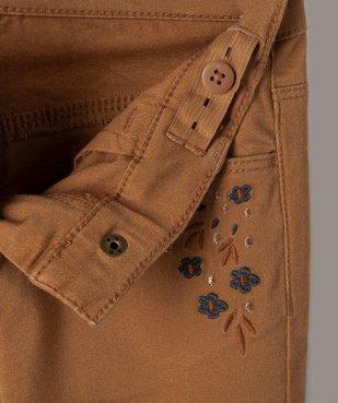 Pantalon fille coupe slim avec fleurs brodées vue3 - Nikesneakers (ENFANT) - Nikesneakers
