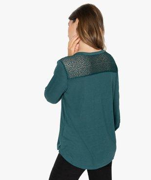 Tee-shirt femme à manches longues et dos dentelle vue3 - GEMO C4G FEMME - GEMO