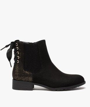 Boots femme chelsea zippées avec ruban sur le contrefort vue1 - GEMO (CASUAL) - GEMO