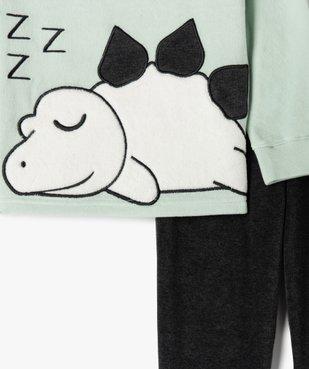 Pyjama garçon bicolore en velours avec motif dinosaure vue2 - GEMO (ENFANT) - GEMO
